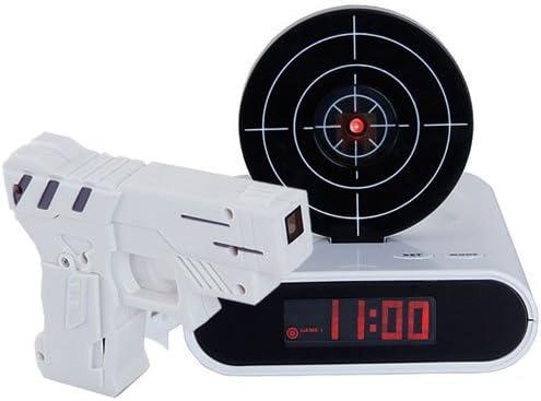 Reloj despertador, diseño con pistola y diana para apagar la alarma
