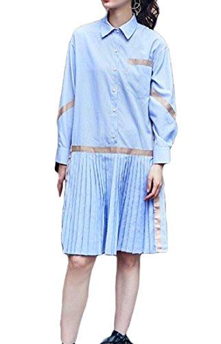 Blu Lunghi Manica Camicia Della Pieghettata Tratti Vestito donne Leggera Coolred Lunga 4aqw5AAv