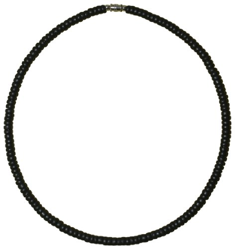 Native Treasure - 15 inch Kids Black Coco Bead Surfer Necklace Tribal Beach Choker - 5mm (3/16