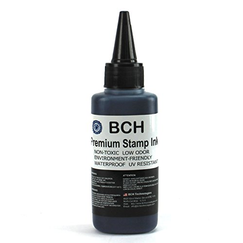 Black Stamp Ink Refill by BCH - Premium Grade -2.5 oz (75 ml) Ink Per Bottle
