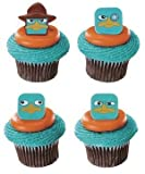 12 Phineas & Ferb Angent P Faces Cupcake Cake Rings Toppers Party Favors