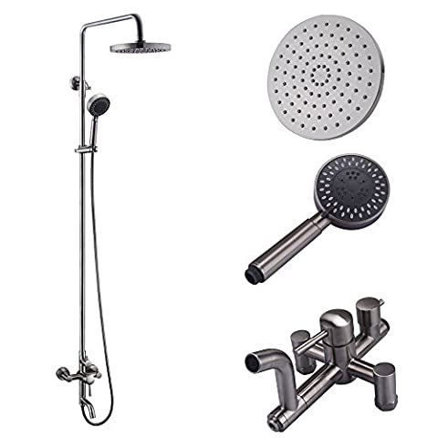 KES X6650A Bathroom SUS304 Stainless Steel Faucet Showering System Lead-Free with Rainfall Shower Head Adjustable Shower Bar Wall Mount TRIPLE FUNCTION, - Brushed Stainless Adjustable Flange