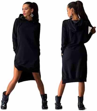 d2357423844b Sunward Women Sexy Plus Sweatshirt Dress Double Split Hoodie Pullover  Pockets Sweater
