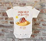 Farm Help On The Way Barn Customized Onesie®, Baby Shower Gift, Customized Onesie, Pregnancy Announcement, Pregnancy Reveal Onesie
