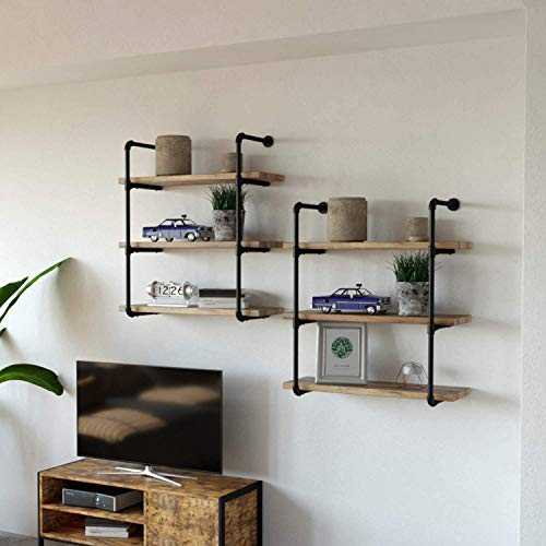 IRONCK Industrial Shelving Pipe Shelf 3-Tier, Planks Included, Rustic Home Decor Wall Decor, Wall Shelves for Bedroom… 6