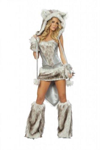 J Valentine Women's Wolf Costume M Silver (Sexy Wolf Woman Costume)