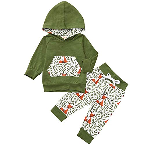 7a0c0bcfc Baby Boys Outfits Green Leaf Tiger Tops Matching Kangaroo Pocket Fox Pants  Set 2PC Clothes (