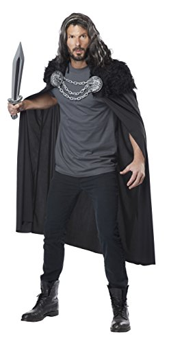California Costumes Men's Wolf Clan Warrior Cape, Black One Size -