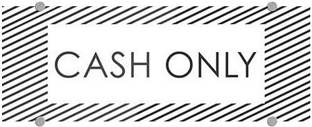 8x3 Cash Only CGSignLab 5-Pack Stripes White Premium Brushed Aluminum Sign