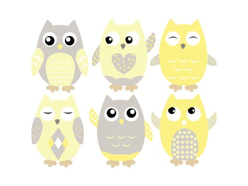 Amazon.com: Owl Fabric Wall Decals, Set of 6 Owls Wall Stickers ...
