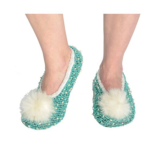Snoozies Womens Nubby Knit Ballerina Comfort Sole Slippers - Teal, Small (For Christmas Review Me Marry)