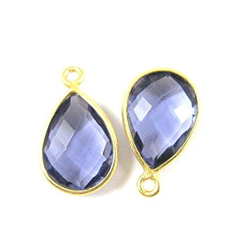 Iolite Gemstone (Bezel Gemstone Pendant - Small Teardrop - 10 x 14mm - 22K Gold plated Vermeil Bezel Gem - Iolite Quartz ( 2 pcs))