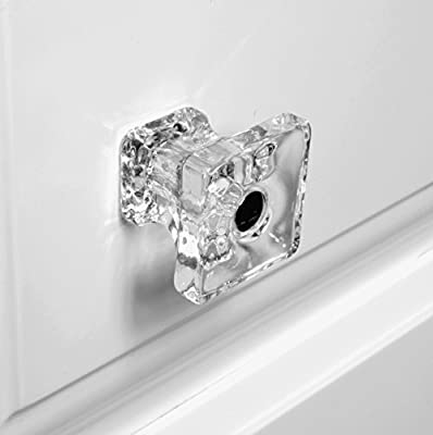 Cabinet Knob, Antique Drawer Pulls or Kitchen Cabinets Handles T82M Clear Glass Square Knobs with Polished Nickel Hardware. Romantic Decor & More
