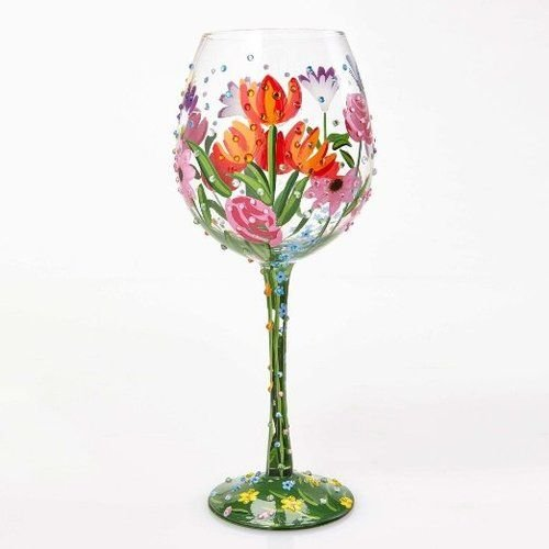 "Designs by Lolita ""Spring Bling"" Hand-painted Artisan Super Bling Wine Glass, 22 - Glasses Beautiful"