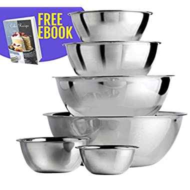Pro Mixing Bowls(TM) | (Set of 6) Heavy Duty 18/8 Mirror Finish Stainless Steel Mixing Bowls Set, Nesting Design with Curved Lips, Nontoxic and Antirust, Dishwasher Safe