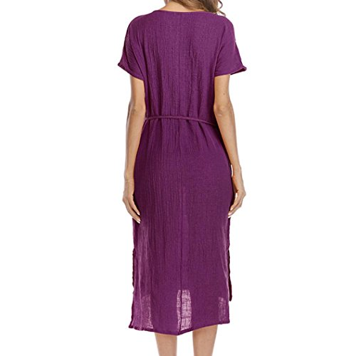 d't Bringbring Femmes Lache Grande Dcontract asymtrique Taille Robe Ourlet Poche V Taille Violet Colla HHqx1R
