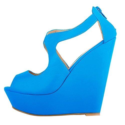 EKS - Zapatos de Tacón Mujer Light Blau