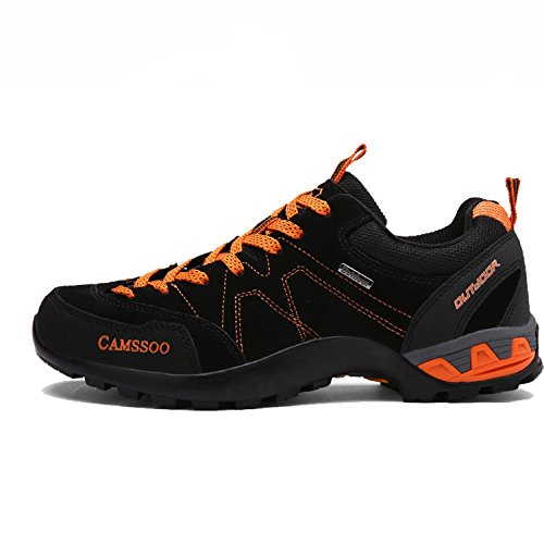 Cushioning Running Black CAMSSOO Suede Mens Leather Mesh Shoe country Outdoors Cross Hiking wH0qw7az