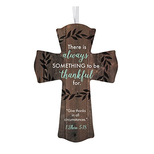 Prayer Hanging Cross - Always Thankful Wooden Cross with Ribbon Hanger, 6 Inch