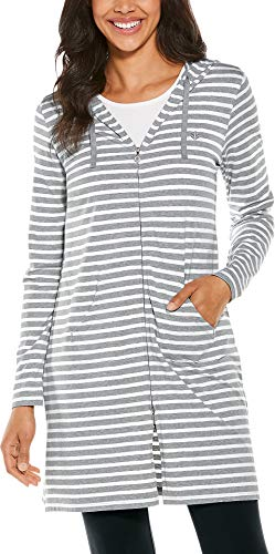 Coolibar UPF 50+ Women's Cabana Hoodie - Sun Protective (2X- Grey & White Stripe) Cotton Lightweight Cover Up