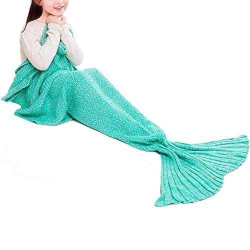 JR.WHITE Mermaid Tail Blanket for Kids Adult,Hand Crochet Snuggle Mermaid,All Seasons Seatail Sleeping Bag Blanket (Mint)