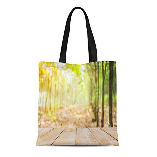Semtomn Canvas Tote Bag Shoulder Bags Bowl Agriculture Wood Table Top Focus Blur Rubber Tree Women's Handle Shoulder Tote Shopper Handbag ()