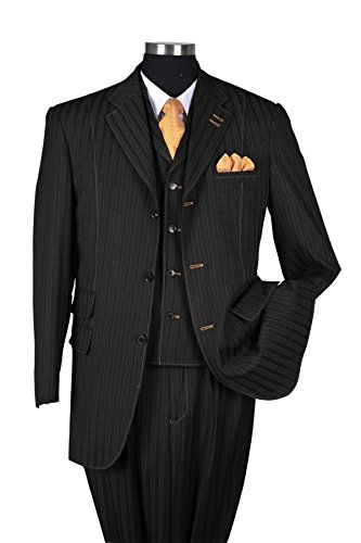 Fortino Landi Men's Pinstripe Stitching Design Fashion Dress Suit 52677-Black-52R (3 Button Black Pinstripe Suit)