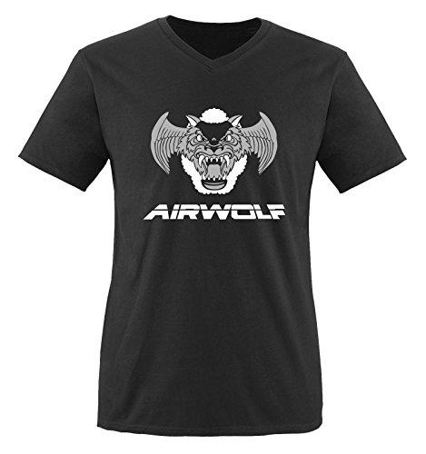 Negro Camiseta Hombre Air Weiss grau cortas Mangas Schwarz wolf XgxTv