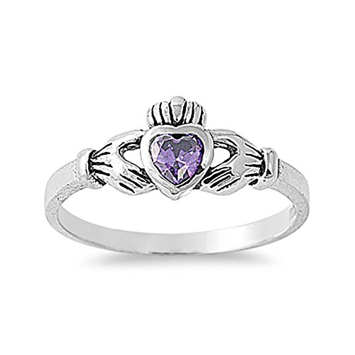 Blue Apple Co. Irish Claddagh Heart Promise Ring Simulated Purple Amethyst 925 Sterling Silver