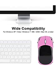Wireless Mouse, 2.4G Wireless Mouse Optical Mouse 1600Dpi Pc Mouse Portable Mouse Computer Mice Wireless The Mouse For Mac/Me/Windows Pc/Tablet Gaming Office(Pink)