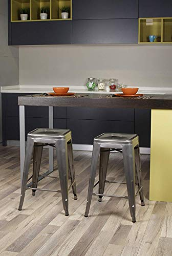 GIA 24-Inch Backless Counter Height Stool with Metal Seat, Gunmetal, 2-Pack