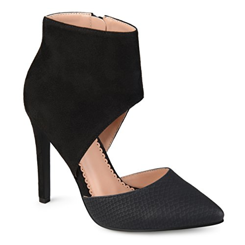 Ankle Cuff Pumps - Journee Collection Womens' Two-Tone Ankle Cuff High Heels Black, 8 Regular US