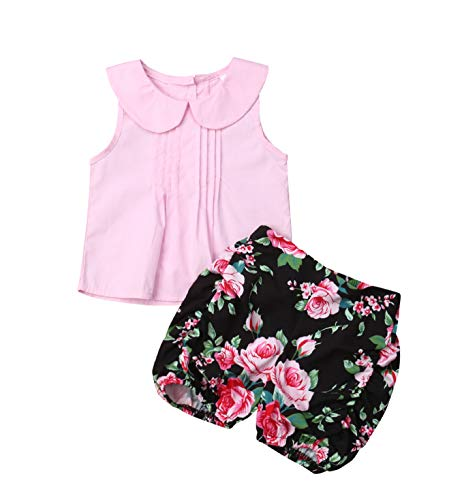 (3PC Baby Girl Feather Vest Tops+Golden Dots Tassels Short Pants+Bowknot Headband (12-18 Months, Floral&Pink))