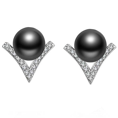 JAJAFOOK Women's 925 Sterling Silver Zirconia Simulated Gray Pearl Elegant V Shape Pierced Post Stud Earrings