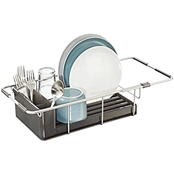 MDesign Rustproof Aluminum Over The Sink Dish Drainer Rack For Drying  Glasses, Silverware