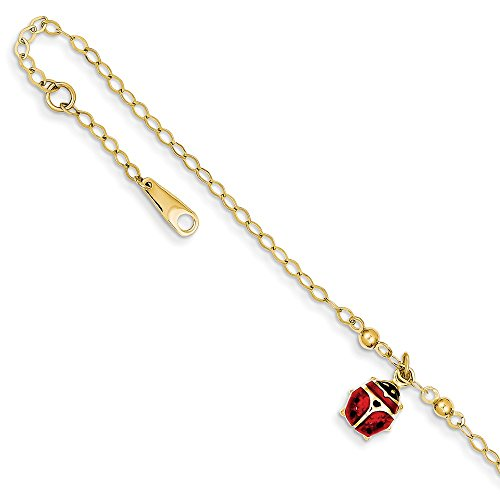 (14k Yellow Gold Adjustable Chain Plus Size Extender Enameled Ladybug Anklet Ankle Beach Bracelet Animal Fine Jewelry Gifts For Women For Her)