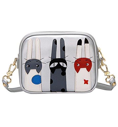 Girls Travel Sling Crossbody Cats Satchel School Handbag Grey Bag Bag Shopping Three Tom Shoulder Clovers Purse Bag Womens q0wEa