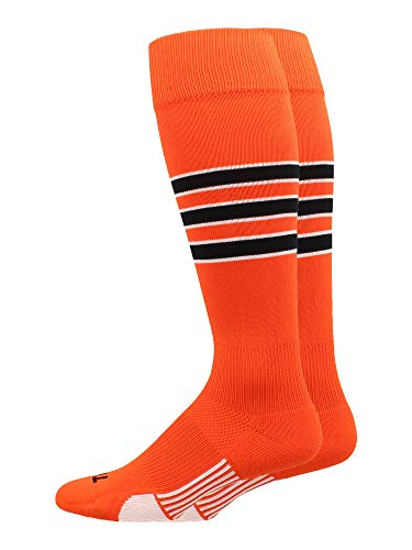 - MadSportsStuff Dugout 3 Stripe Softball Socks (Orange/Black/White, Large)