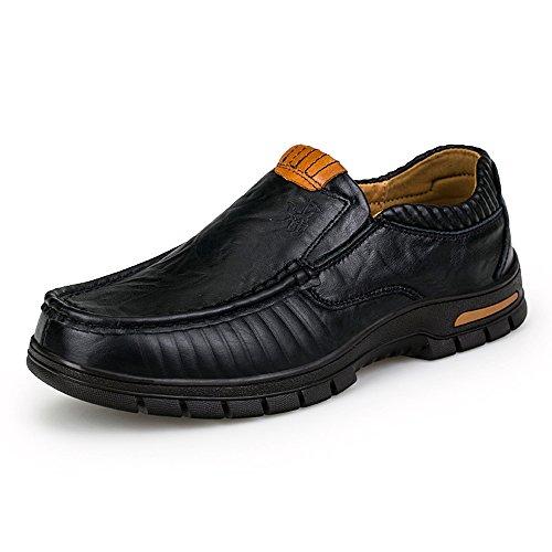 Enllerviid Män Mjuk Moc Tå Halka På Loafers Bred Oxfords Läder Klänning Arbetsskor 5200 Svart