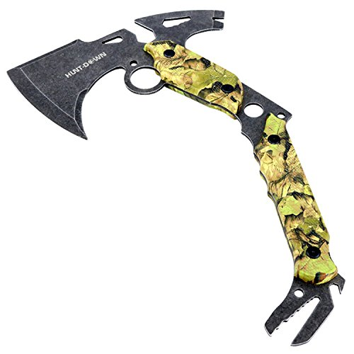 13-Hunting-Survival-Axe-With-Sheath-Green-Camo-Color-Handle-9807