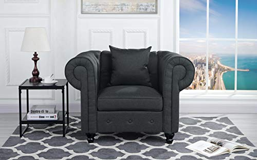 Classic Scroll Arm Large Linen Fabric Living Room Chesterfield Accent Chair (Dark Grey)
