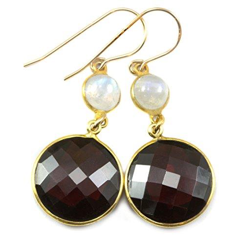 14k Gold Filled Simulated Garnet Earrings Blue Smooth Moonstone Goldtone Bezel Set Round Long Faceted Drops