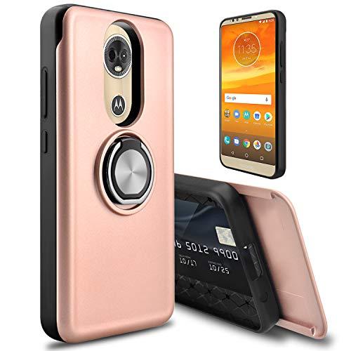 (Moto E5 Plus Case, Moto E Plus (5th Gen) Case, lovpec [Cards Slot] 360 Degree Ring Magnetic Holder Kickstand Hybrid Girls Women Shockproof Phone Case Cover for Motorola Moto E5 Supra (Pink))
