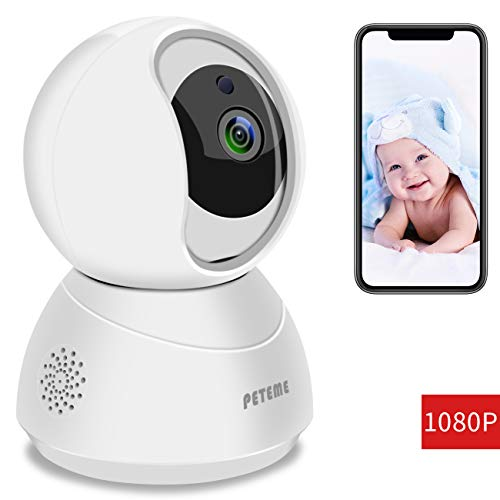 Peteme WiFi IP Camera,1080P FHD Indoor Home Security Wireless Camera,with Night Vision/Motion Detection/Two-Way Audio/Elder/Pet/Baby Monitor,Works with Android/iOS