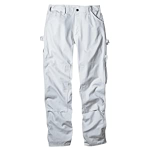Dickies Men's 8 3/4 Ounce Double Knee Painter's relaxed fit Pant, White, 34x32