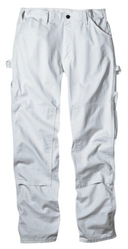 (Dickies Men's 8 3/4 Ounce Double Knee Painter's relaxed fit Pant, White, 44W x 30L)