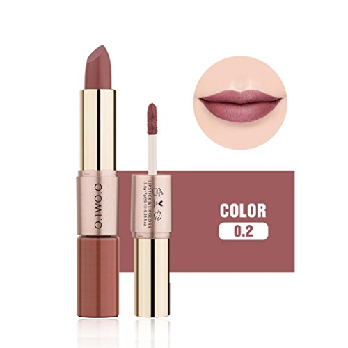 Ourhomer O.Two.O12 Colors Waterproof Long Lasting Women 2 in 1 Velvet Matte Lipstick Lip Gloss Double-End Makeup ()