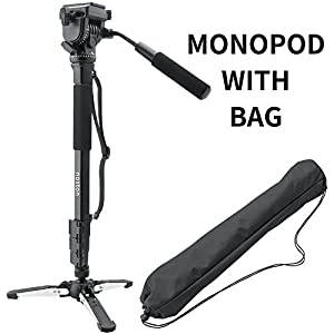 noston Professional 65-inch Camera Aluminium Monopod with Folding Three Feet Support Stand Tripod Balance Stand Base - Shoulder/Carrying Bag Included