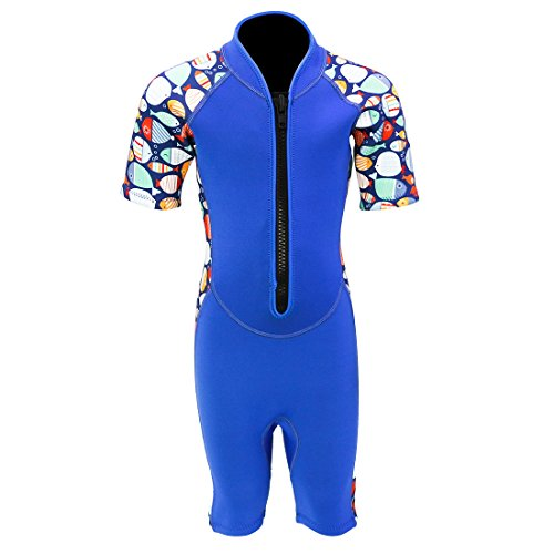Kids Wetsuit 2mm Neoprene Youth Shorty Wetsuit, Kids Front Zip Spring Suit for Girls and Boys Swimming Surfing Dving UV Protection,SS005 (Blue Fish, 4) ()