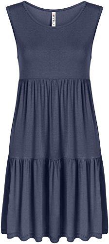 (Casual Tiered T Shirt Dresses for Women Reg and Plus Size Summer Sundress - USA Denim Sleeveless Medium, Denim Sleeveless, Medium )